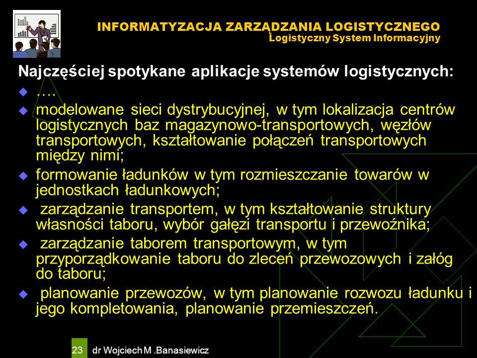 Najczęściej spotykane aplikacje systemów logistycznych: ….