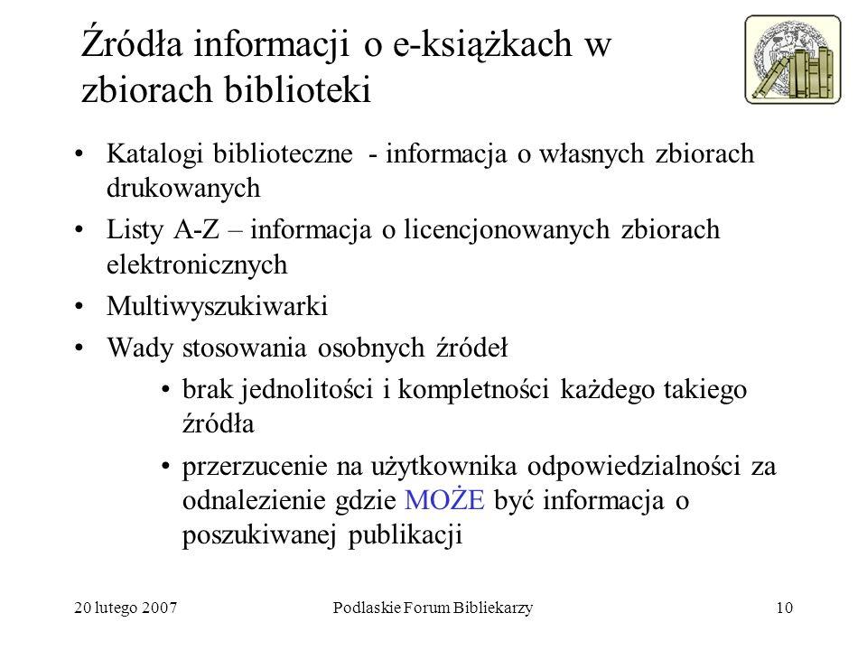 Źródła informacji o e-książkach w zbiorach biblioteki