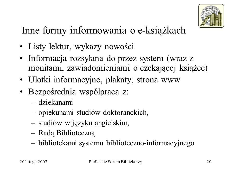 Inne formy informowania o e-książkach