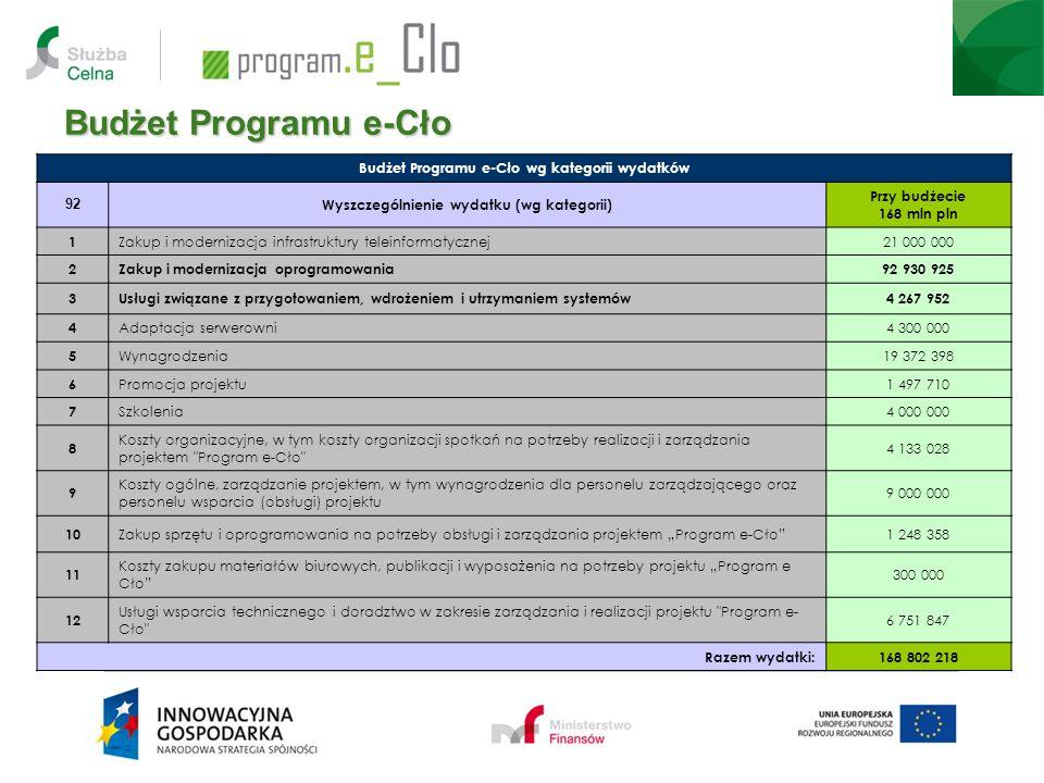 Budżet Programu e-Cło 12 Budżet Programu e-Cło wg kategorii wydatków