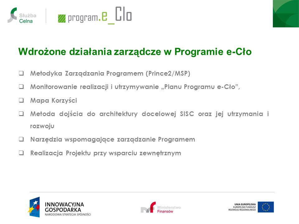 Wdrożone działania zarządcze w Programie e-Cło