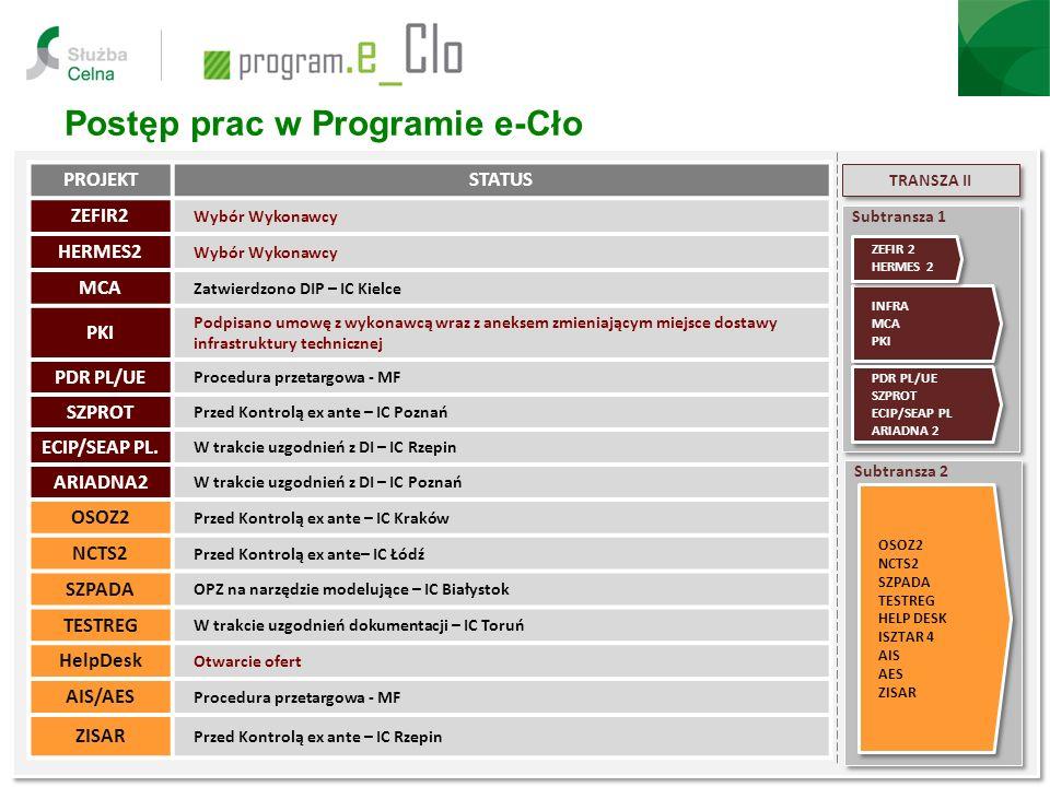 Postęp prac w Programie e-Cło