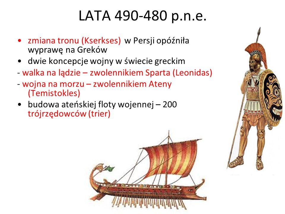 LATA 490-480 p.n.e. zmiana tronu (Kserkses) w Persji opóźniła wyprawę na Greków. dwie koncepcje wojny w świecie greckim.