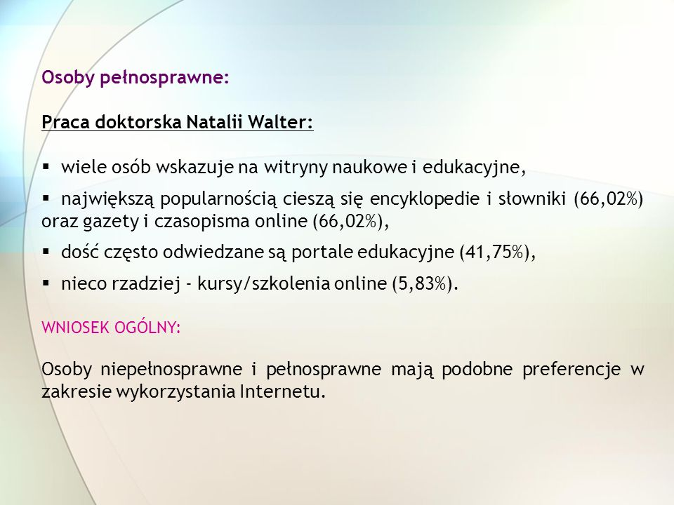 Praca doktorska Natalii Walter: