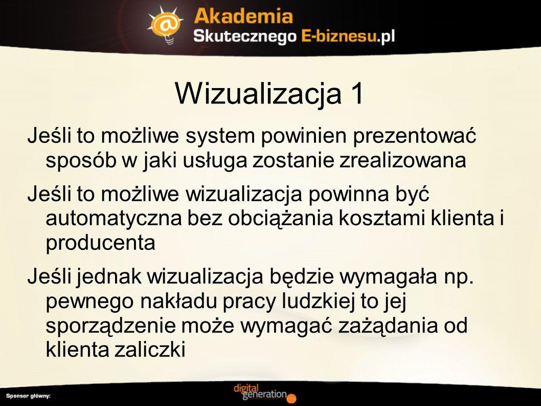 Wizualizacja 1 Jeśli to możliwe system powinien prezentować sposób w jaki usługa zostanie zrealizowana.
