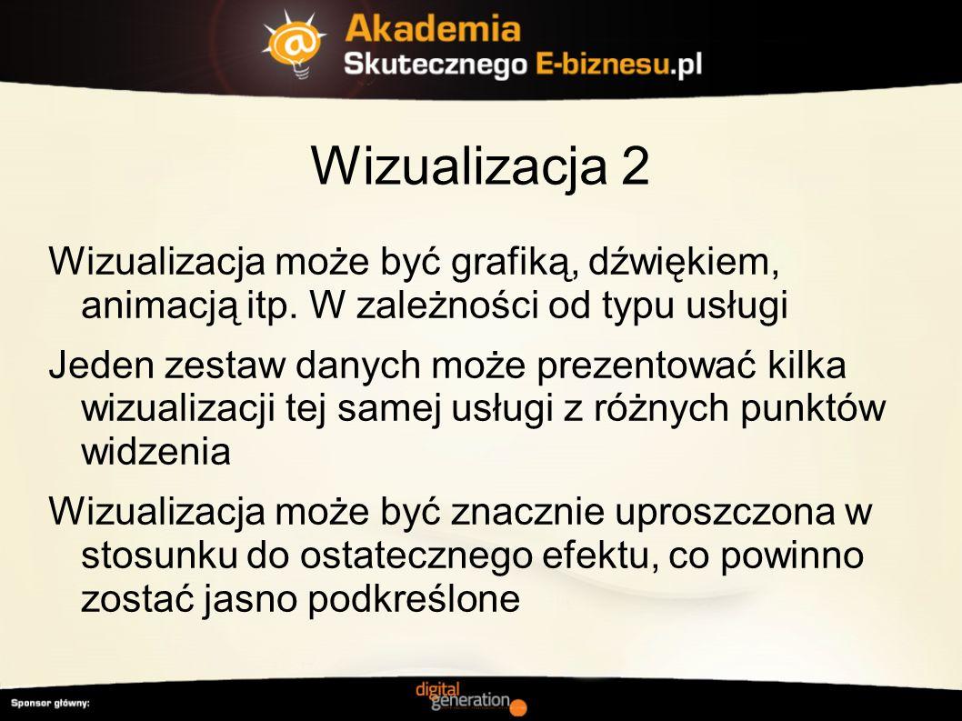 Wizualizacja 2 Wizualizacja może być grafiką, dźwiękiem, animacją itp. W zależności od typu usługi.