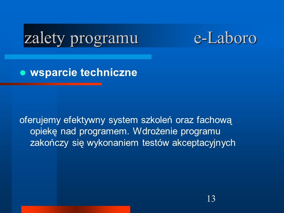 zalety programu e-Laboro