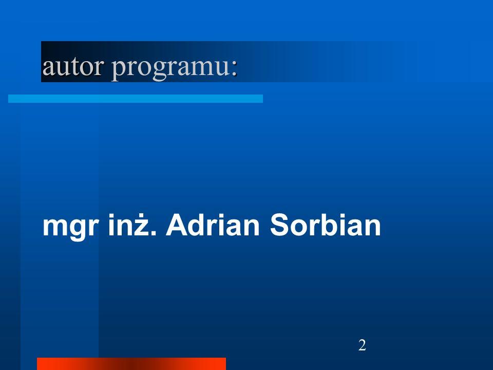 autor programu: mgr inż. Adrian Sorbian
