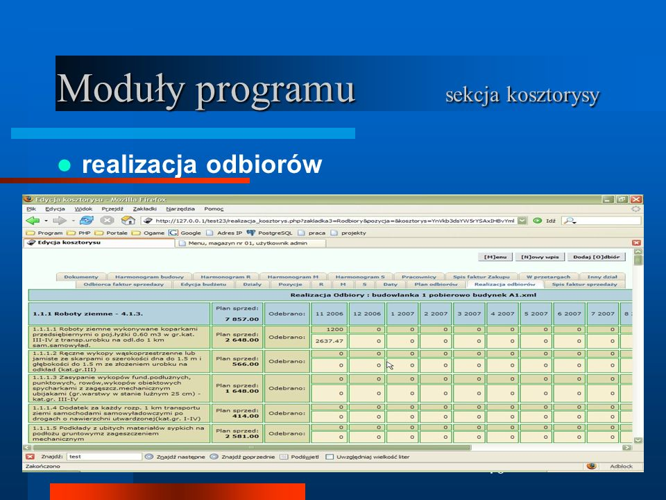 Moduły programu sekcja kosztorysy