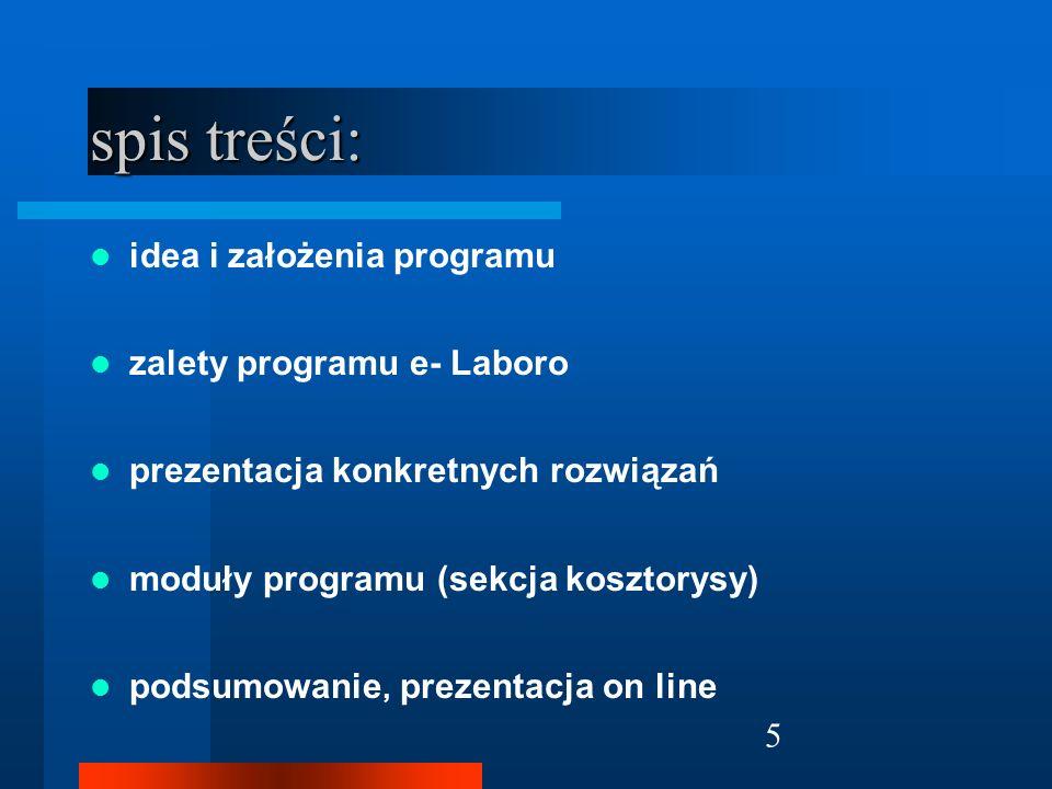 spis treści: idea i założenia programu zalety programu e- Laboro