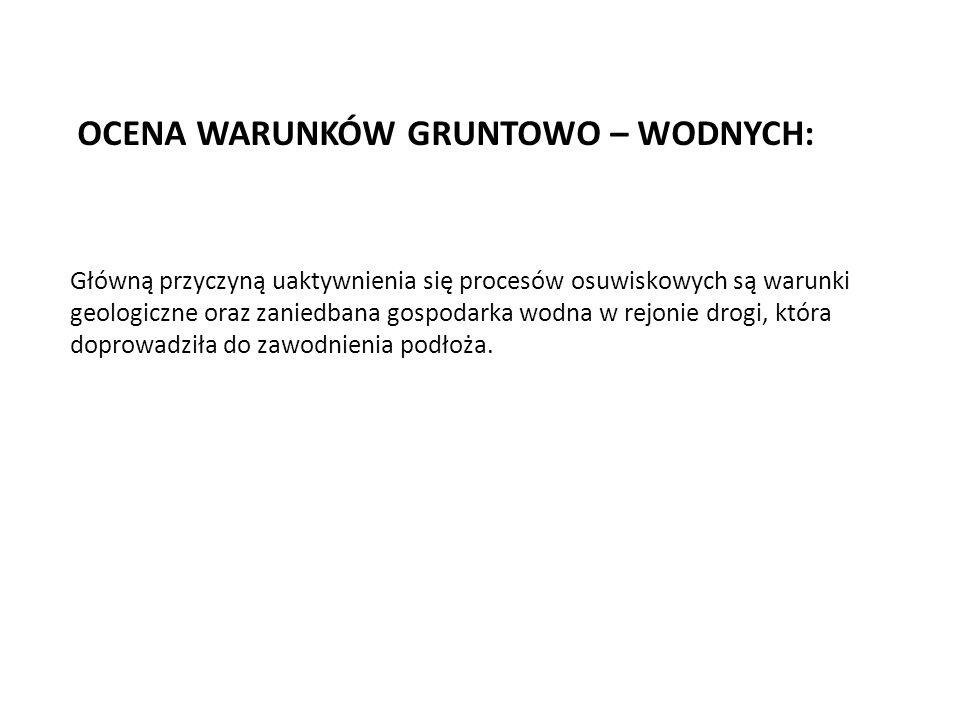 OCENA WARUNKÓW GRUNTOWO – WODNYCH: