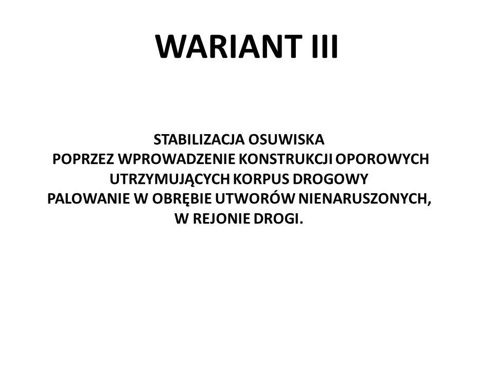 WARIANT III STABILIZACJA OSUWISKA