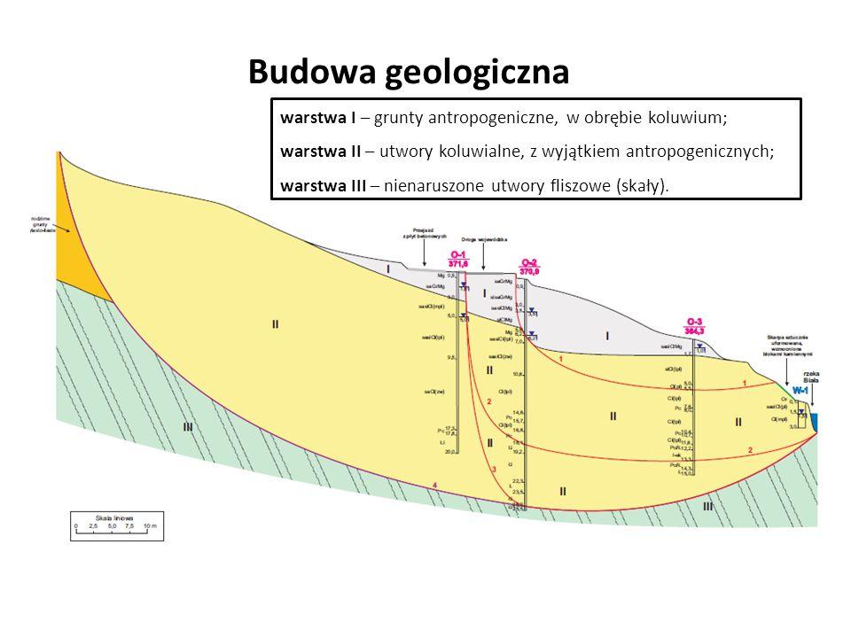 Budowa geologiczna warstwa I – grunty antropogeniczne, w obrębie koluwium; warstwa II – utwory koluwialne, z wyjątkiem antropogenicznych;