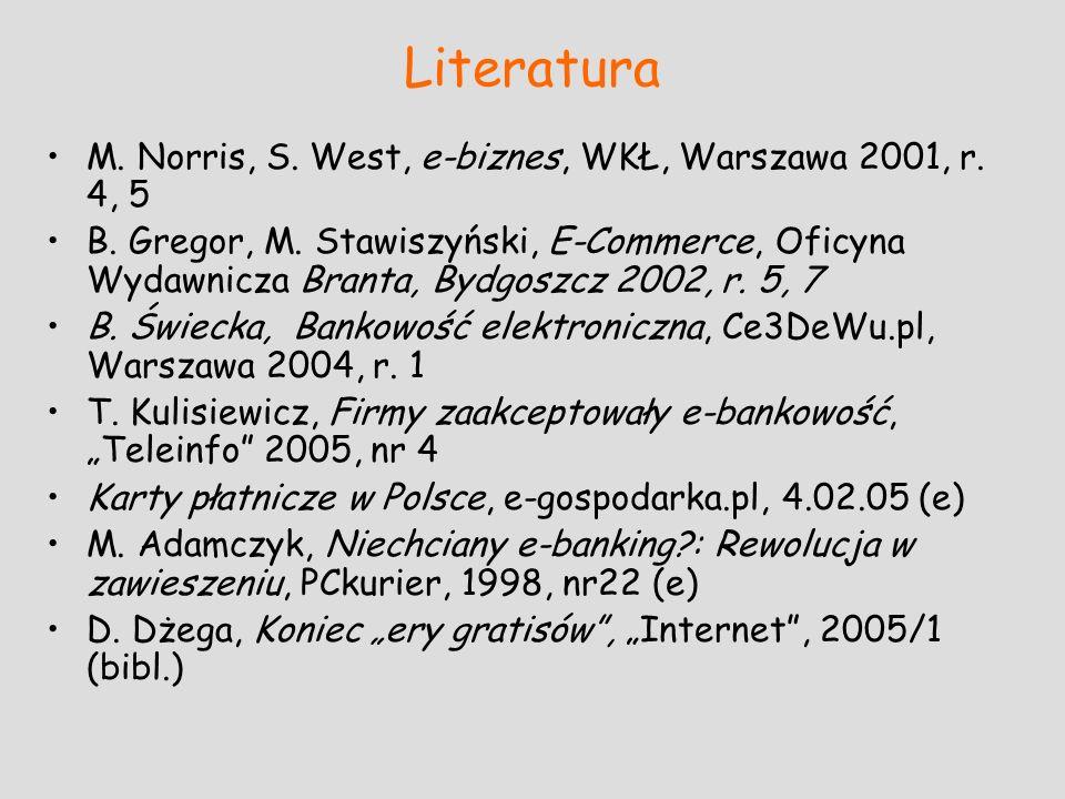 Literatura M. Norris, S. West, e-biznes, WKŁ, Warszawa 2001, r. 4, 5