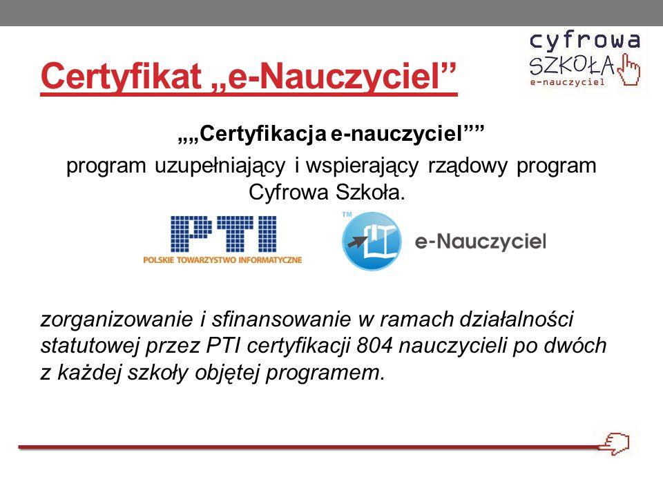 """Certyfikat """"e-Nauczyciel"""