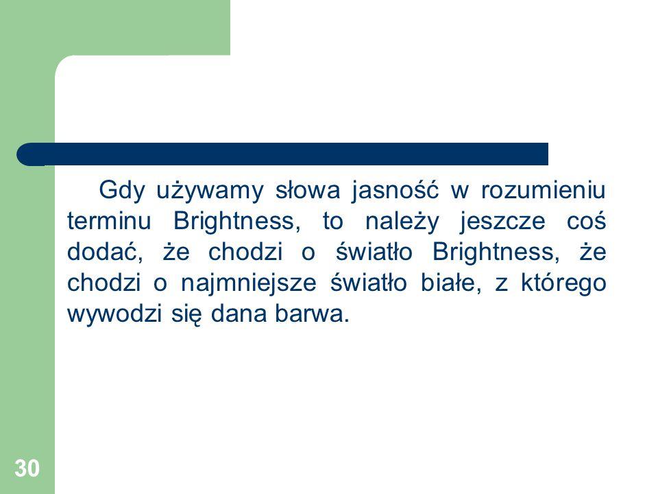 Gdy używamy słowa jasność w rozumieniu terminu Brightness, to należy jeszcze coś dodać, że chodzi o światło Brightness, że chodzi o najmniejsze światło białe, z którego wywodzi się dana barwa.