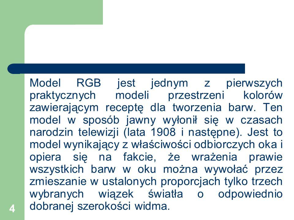 Model RGB jest jednym z pierwszych praktycznych modeli przestrzeni kolorów zawierającym receptę dla tworzenia barw.