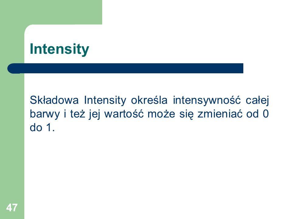 Intensity Składowa Intensity określa intensywność całej barwy i też jej wartość może się zmieniać od 0 do 1.