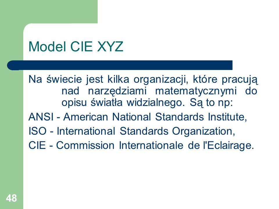 Model CIE XYZ Na świecie jest kilka organizacji, które pracują nad narzędziami matematycznymi do opisu światła widzialnego. Są to np: