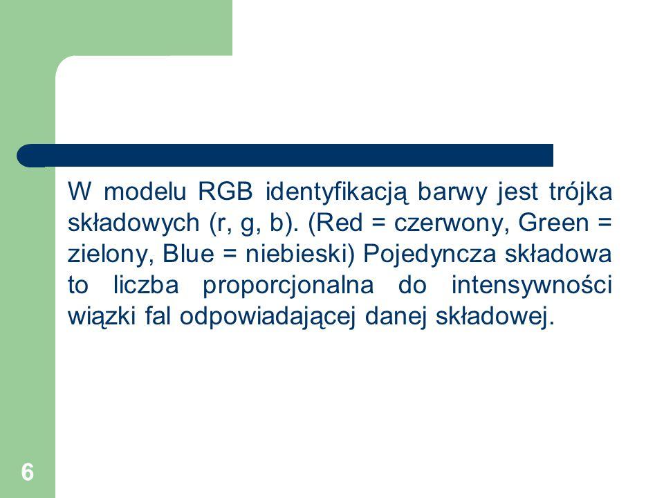 W modelu RGB identyfikacją barwy jest trójka składowych (r, g, b)