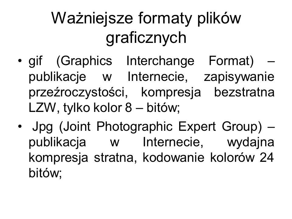 Ważniejsze formaty plików graficznych