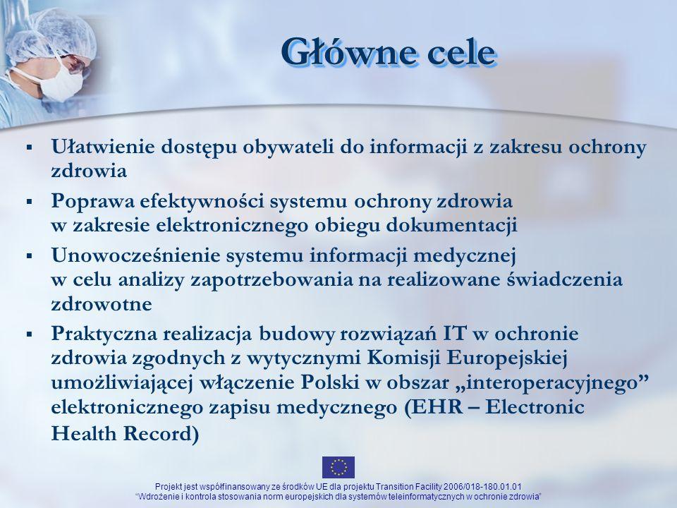 Główne cele Ułatwienie dostępu obywateli do informacji z zakresu ochrony zdrowia.