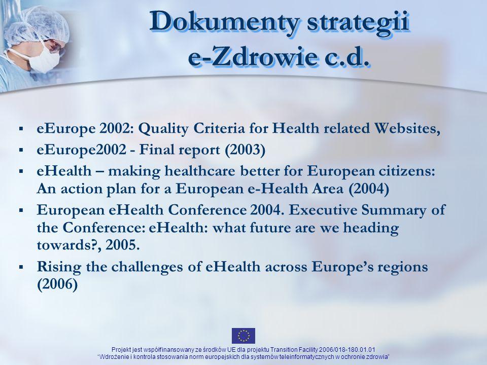 Dokumenty strategii e-Zdrowie c.d.
