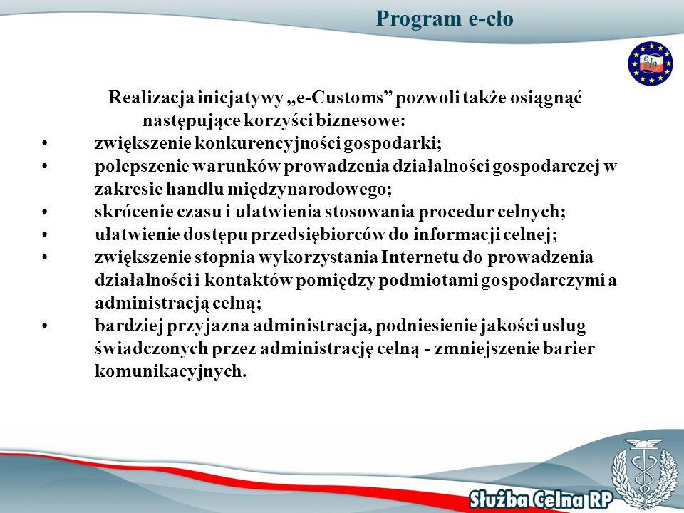 """Program e-cło Realizacja inicjatywy """"e-Customs pozwoli także osiągnąć następujące korzyści biznesowe:"""