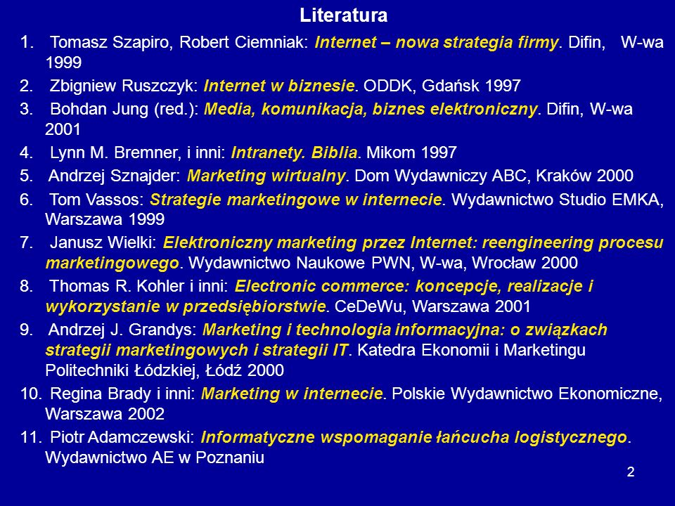 LiteraturaTomasz Szapiro, Robert Ciemniak: Internet – nowa strategia firmy. Difin, W-wa 1999.