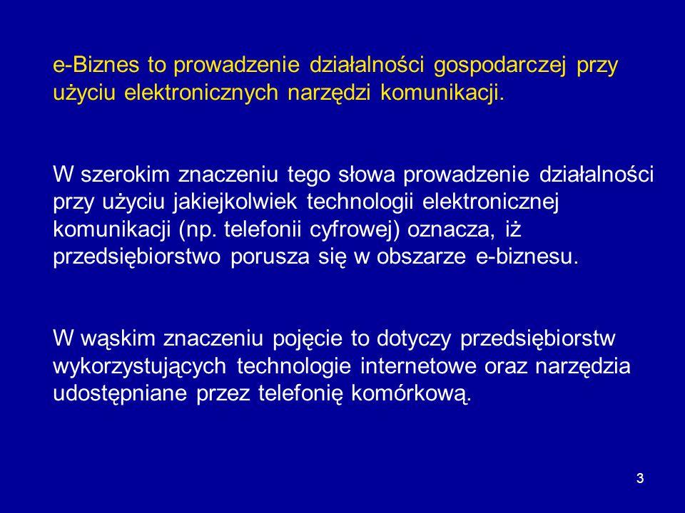 e-Biznes to prowadzenie działalności gospodarczej przy użyciu elektronicznych narzędzi komunikacji.