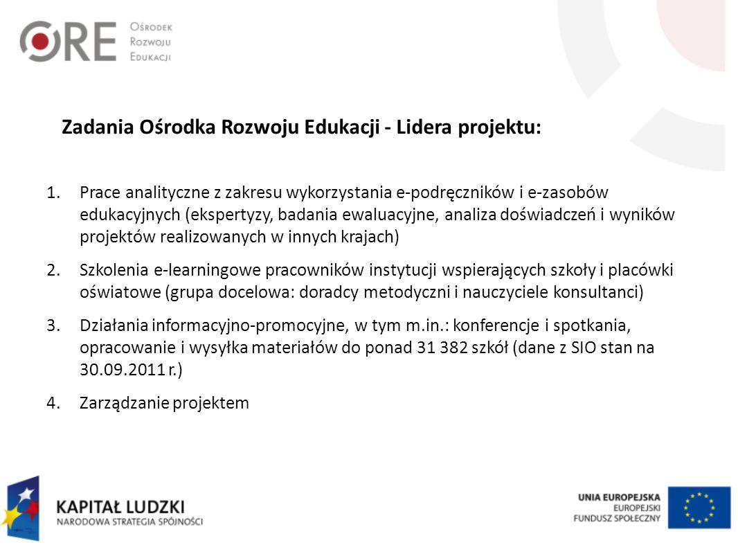 Zadania Ośrodka Rozwoju Edukacji - Lidera projektu: