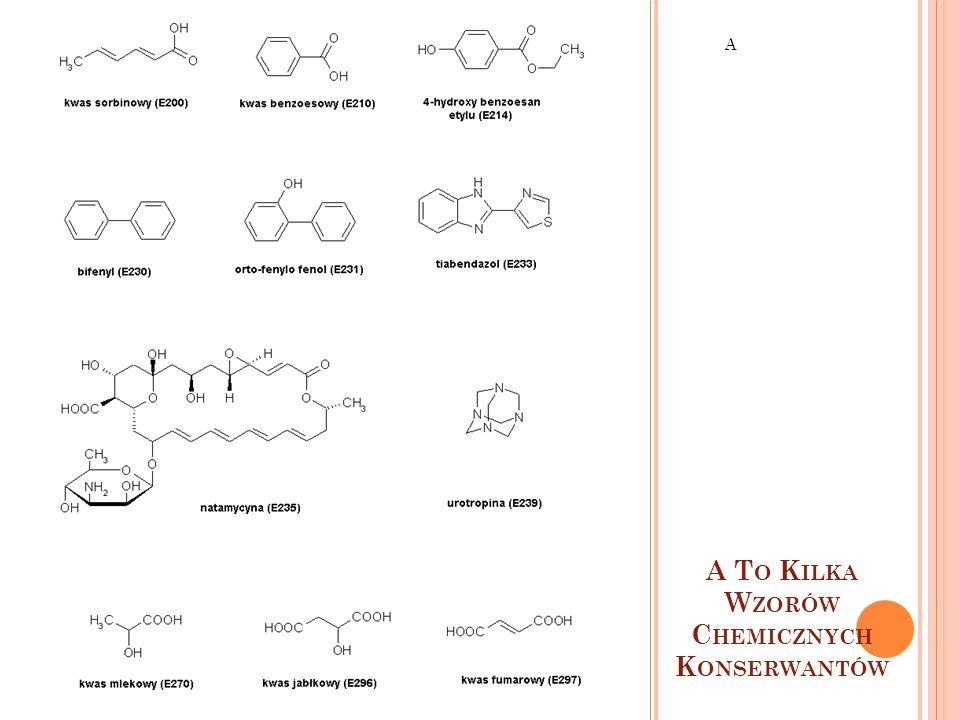 A To Kilka Wzorów Chemicznych Konserwantów