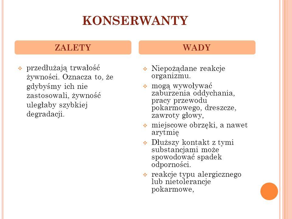 KONSERWANTY ZALETY WADY
