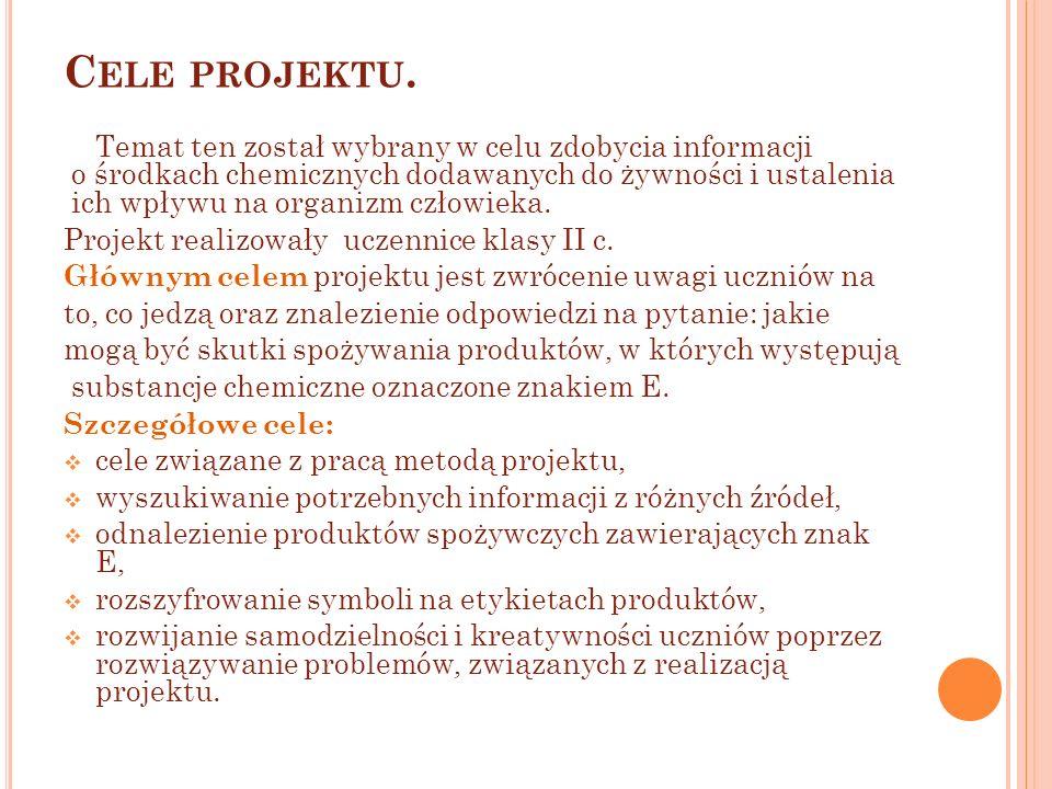Cele projektu. Temat ten został wybrany w celu zdobycia informacji