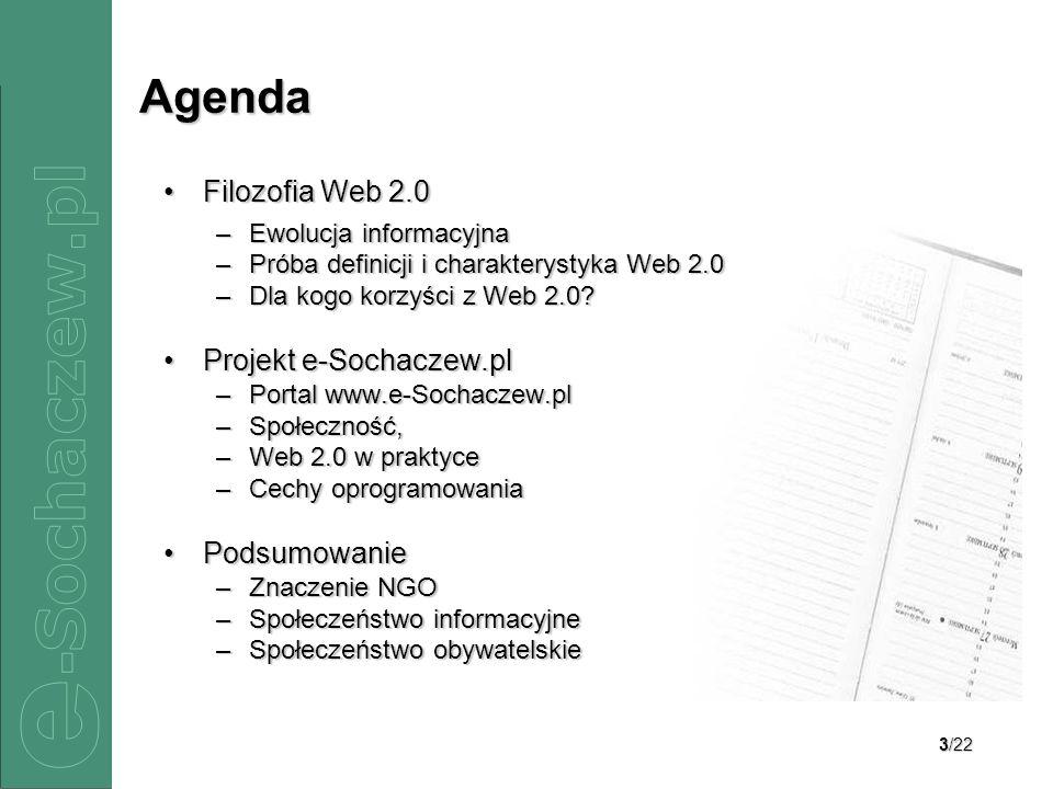 Agenda Filozofia Web 2.0 Projekt e-Sochaczew.pl Podsumowanie