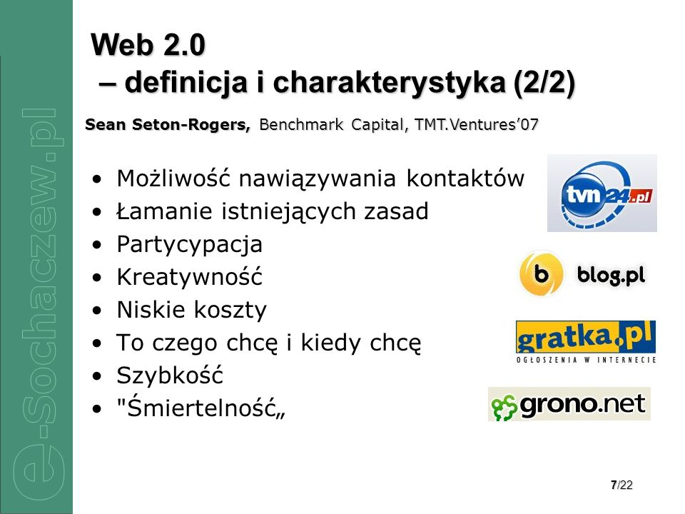 Web 2.0 – definicja i charakterystyka (2/2)