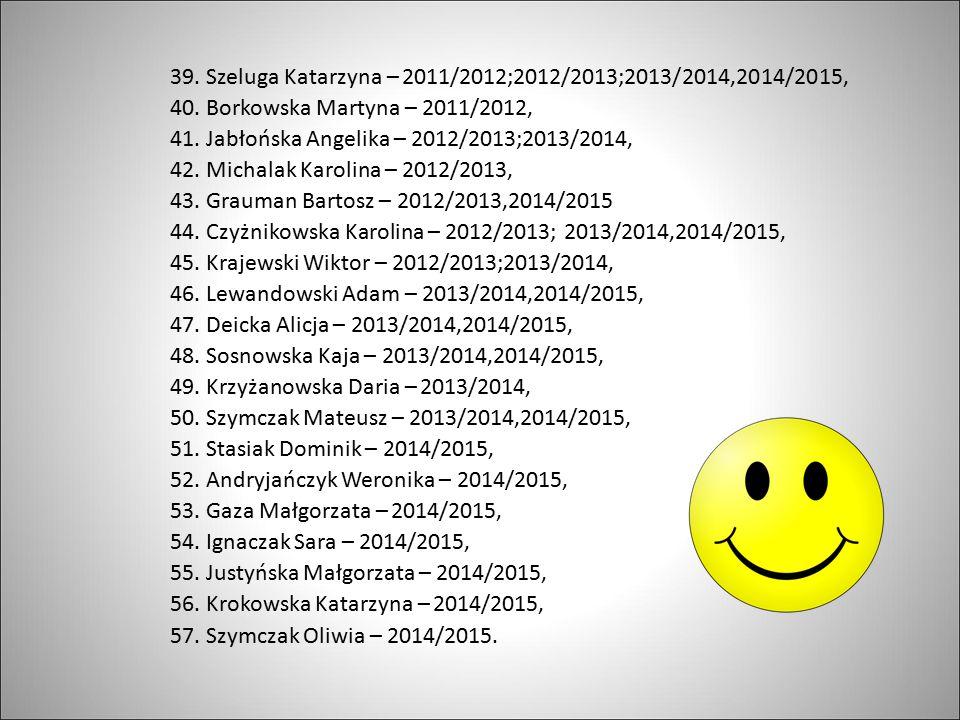 39. Szeluga Katarzyna – 2011/2012;2012/2013;2013/2014,2014/2015,