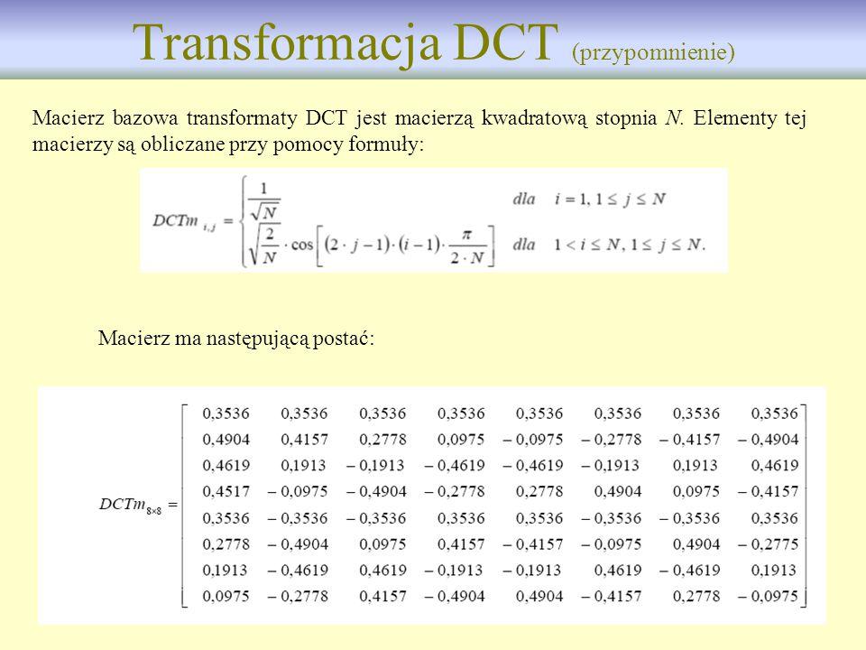 Transformacja DCT (przypomnienie)
