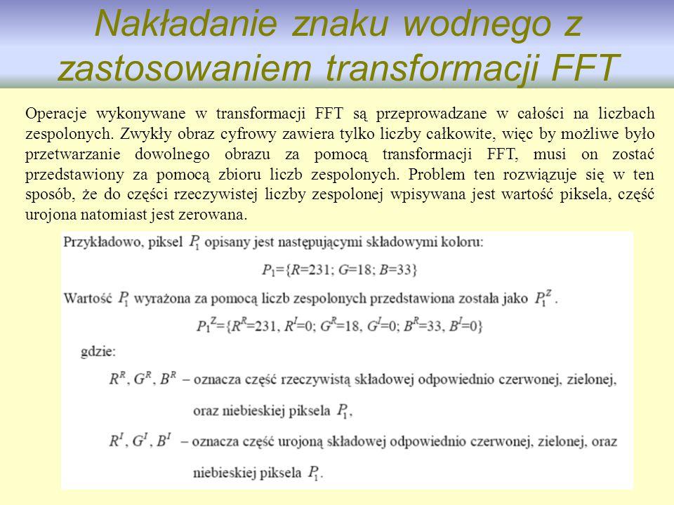Nakładanie znaku wodnego z zastosowaniem transformacji FFT