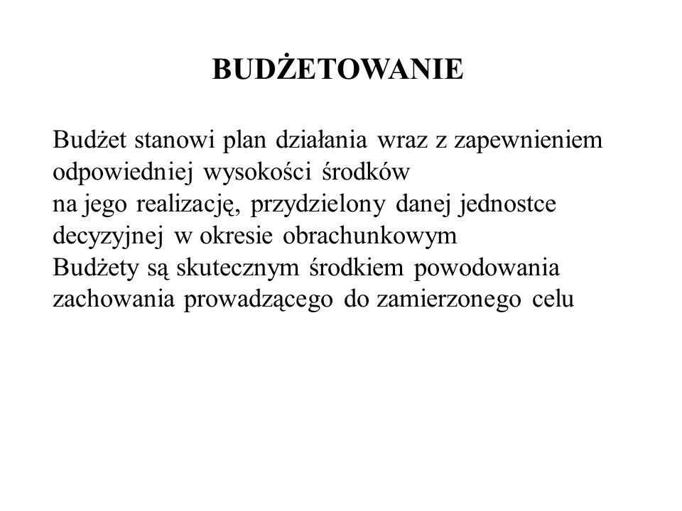 BUDŻETOWANIE Budżet stanowi plan działania wraz z zapewnieniem odpowiedniej wysokości środków.