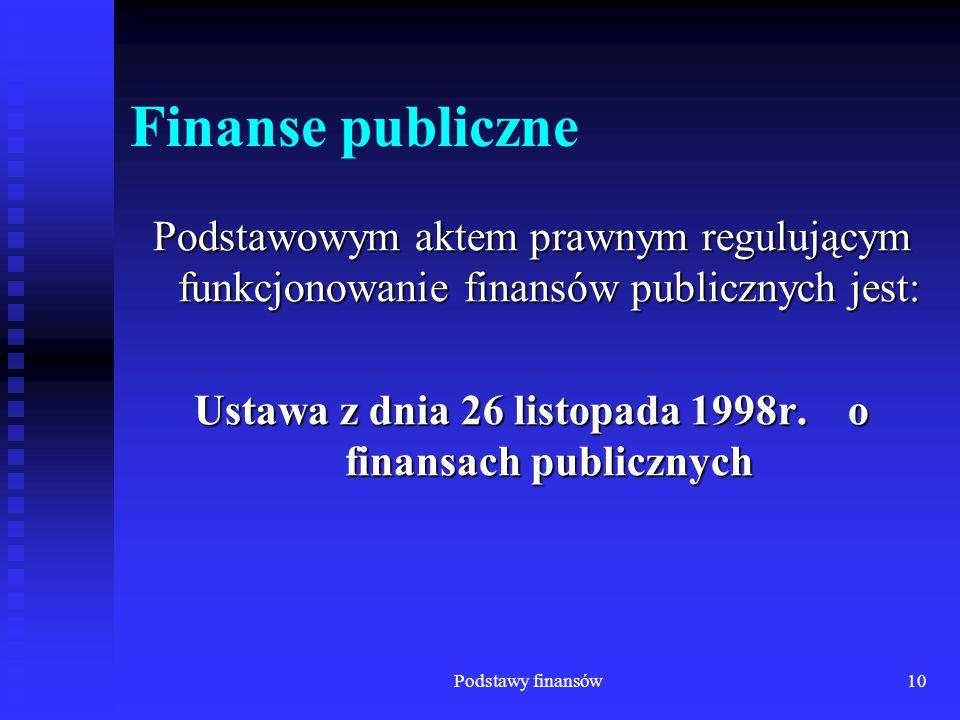 Ustawa z dnia 26 listopada 1998r. o finansach publicznych