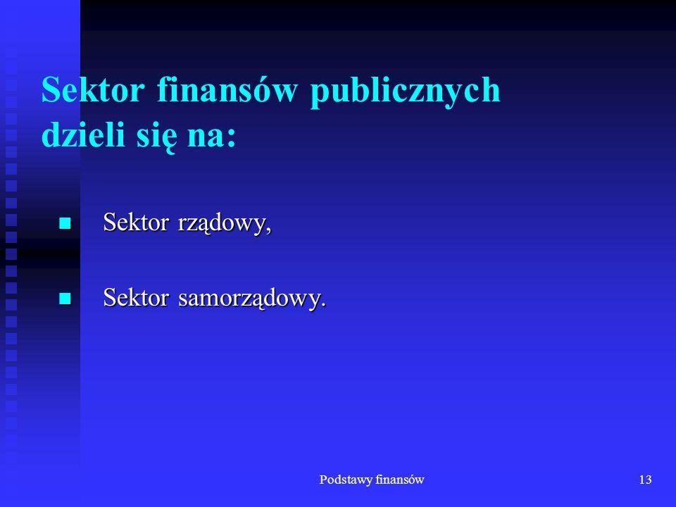 Sektor finansów publicznych dzieli się na:
