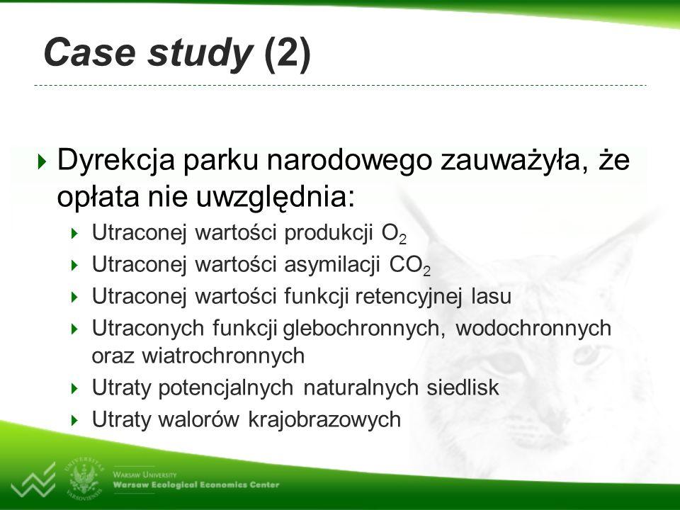 Case study (2) Dyrekcja parku narodowego zauważyła, że opłata nie uwzględnia: Utraconej wartości produkcji O2.
