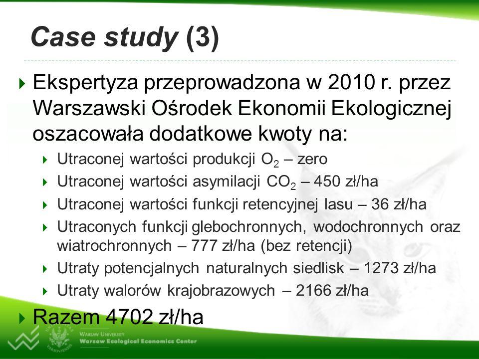 Case study (3) Ekspertyza przeprowadzona w 2010 r. przez Warszawski Ośrodek Ekonomii Ekologicznej oszacowała dodatkowe kwoty na: