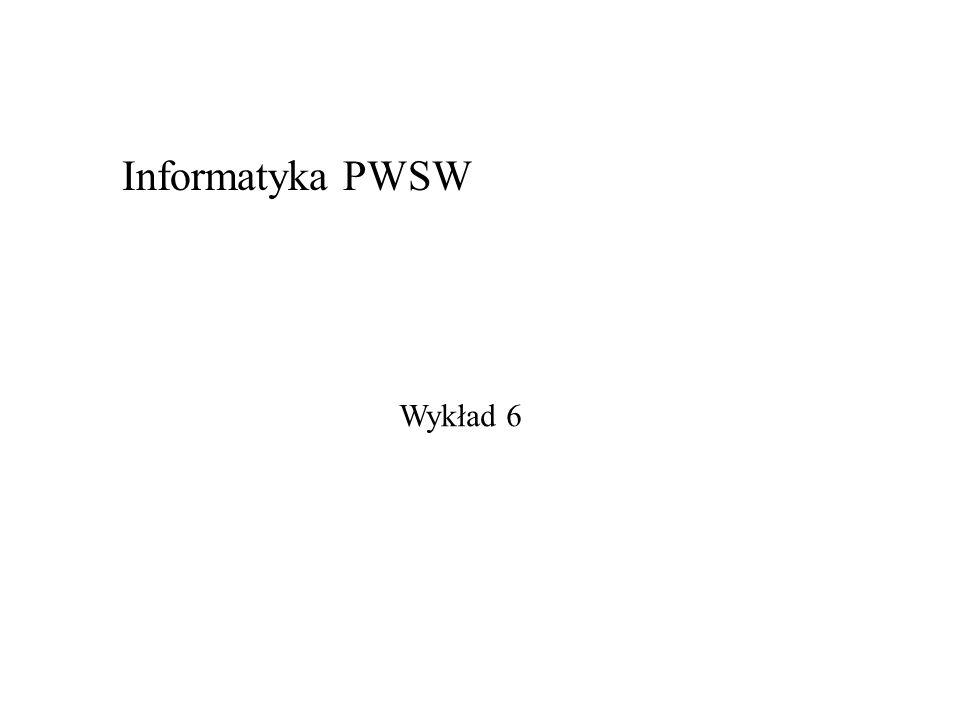 Informatyka PWSW Wykład 6