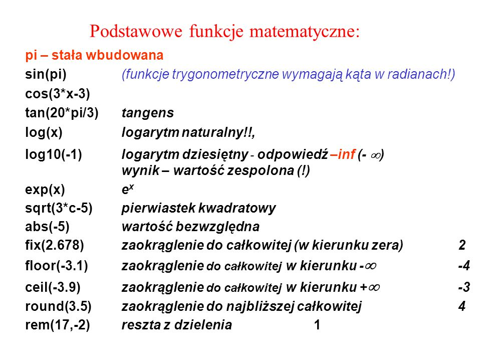 Podstawowe funkcje matematyczne: