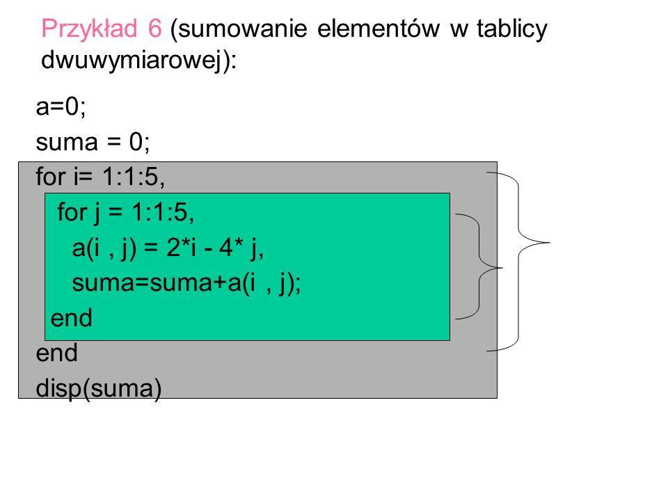 Przykład 6 (sumowanie elementów w tablicy dwuwymiarowej):
