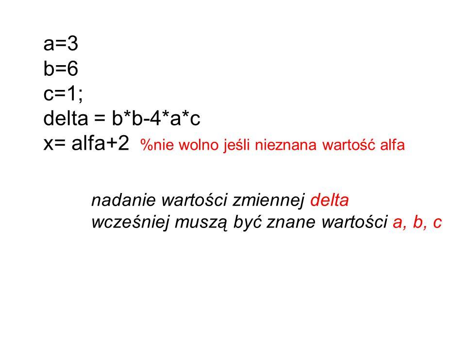 x= alfa+2 %nie wolno jeśli nieznana wartość alfa
