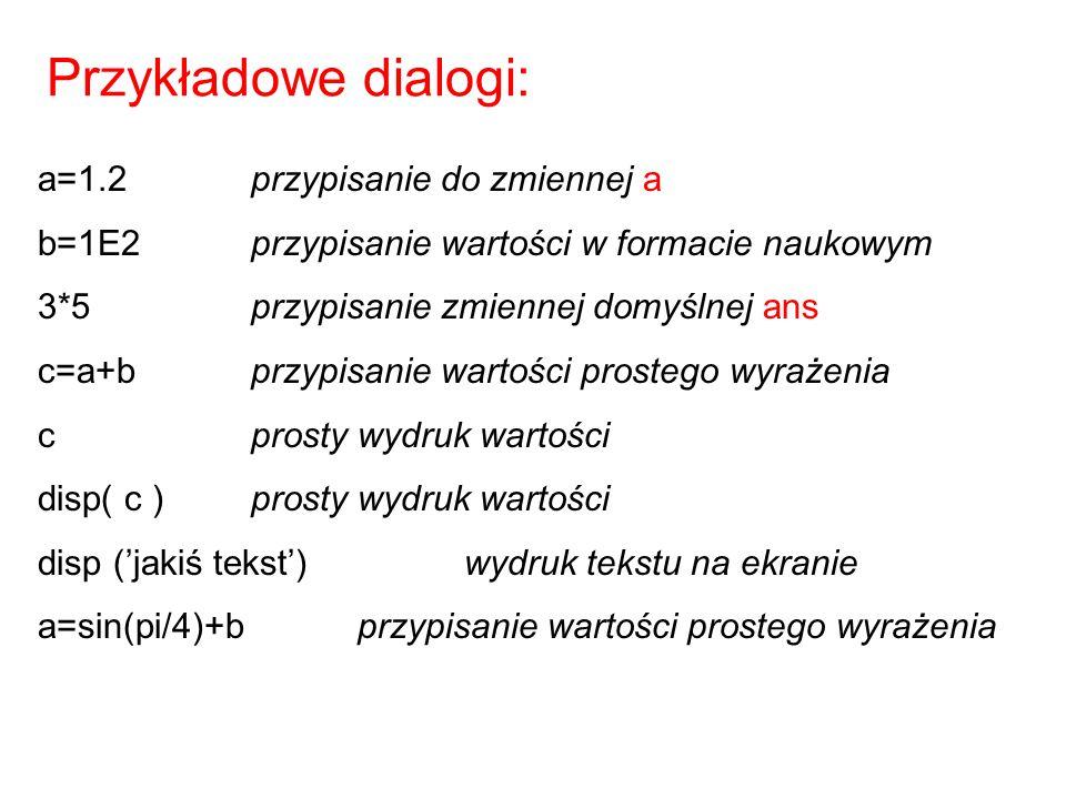 Przykładowe dialogi: a=1.2 przypisanie do zmiennej a