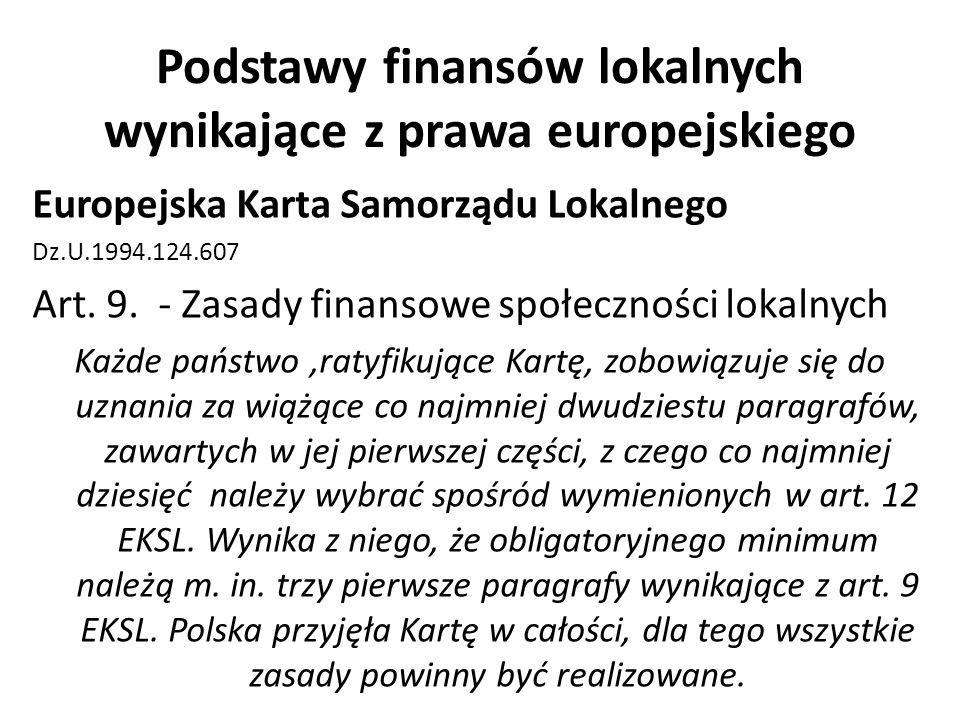 Podstawy finansów lokalnych wynikające z prawa europejskiego